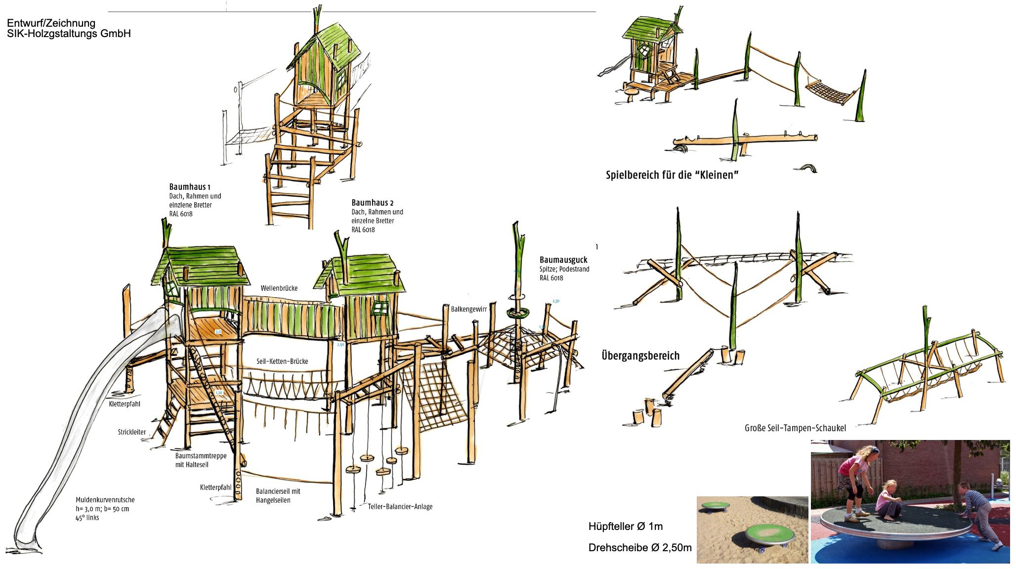 Entwurf für den Waldspielplatz am Luisen-Gymnasium, Realisierung Frühjahr 2021